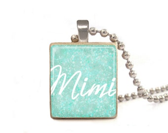 Mimi Necklace, Mimi Pendant, Mimi Charm, Necklace for Mimi, Gift for Mimi, Presents for Mimi, Blue Necklace, Mother's Day Gift, Grandma Gift
