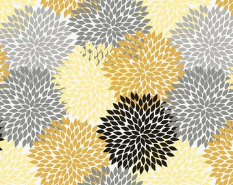 Andrea Victoria by My Minds Eye and Riley Blake Designs Flower burst in Gold 1/2 yard