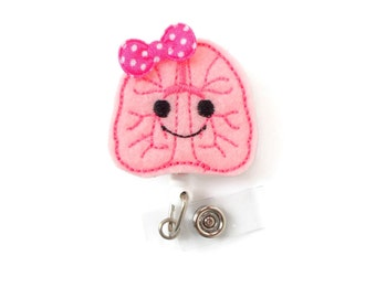 Lola the Lung - RT Badge Holder - Cute Badge Reel - RT Badge Holder - Respiratory Specialist Badge Clip - Pulmonary Badge Reel - Lung Badge