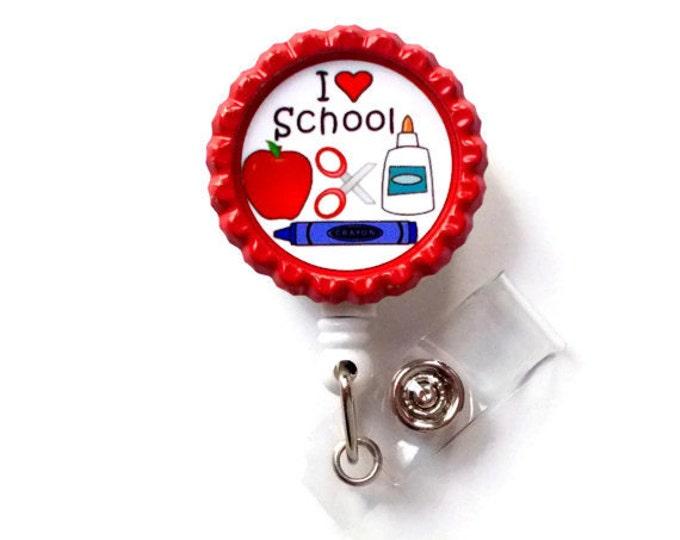 I Love School  - Name Badge Holder - Cute Badge Reels - Teaching Badge Holder - ID Badge Reel -  School ID Badge Clip - Teacher Gift