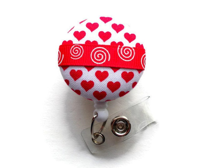Red and White Hearts Badge Holder - Registered Nurse Badge Holder - Badge Reels - Nurses Badge Holder - Cardiac Badge - Teacher Badge