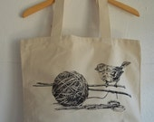 Knitting Tote Bag, Bird and Yarn Tote bag