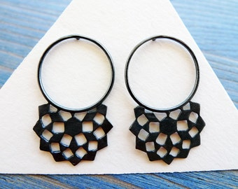 Black Mashrabiya Ring Stud No 1. Modern Geometry. Handmade Silver Lace Earrings. Architecture Inspired Design. Recycled Jewelry.