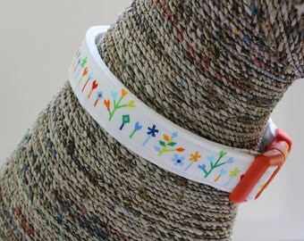 White Dog Collar, Colorful Pet Collar, Spring and Summer Collar, Custom Dog Collar