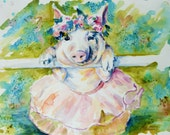 Piggy Ballerina Watercolor Print by Maure Bausch
