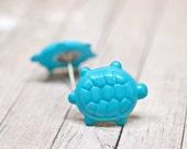 Sea Turtle Earrings, Turquoise Blue Turtles, Teal Blue Nautical Jewelry, Endangered Species Jewelry