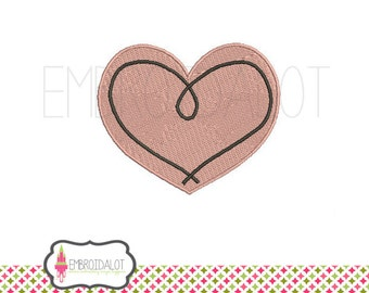 Heart machine embroidery design. Simple heart love embroidery. 4 x 4. Sweet swirly heart embroidery. Pretty valentines embroidery.