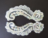 Vintage Pair of Small White Shiffli Lace Motifs - Pearled and Iridescent Sequined - Recycled
