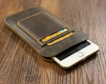 Hand stitched vintage distressed leather iphone 6 6 PLUS case sleeve with card holder / leather iphone 6 6 plus card wallet -IP006SMC