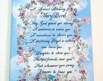 Irish Blessing for girls,birds,flowers,hearts,personalized baby gift,personalized Irish blessing,inspirational nursery art,kids wall art