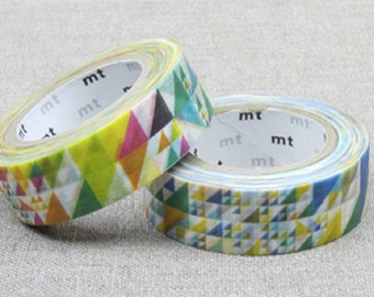 MT 2015 New - Japanese Washi Masking Tape / Blue or Pink Colorful Triangles for scrapbooking, packaging, party deco, card making