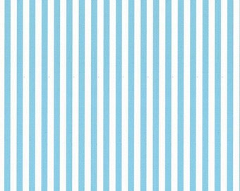 Ella Blue Basic cotton quilt fabric aqua and white candy stripes