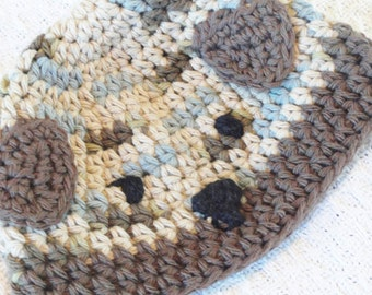 Puppy Dog Baby Beanie Handmade Crocheted Cap Brown Beige Blue with Ears By Distinctly Daisy
