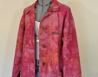 Red XL Denim Jacket - Orange Pink Dye Upcycle Ashliegh Morgan Barn Jacket - Adult Women Plus Size Extra Large (52 chest)
