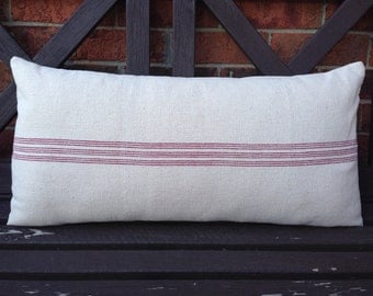 Grain Sack Lumbar Pillow Cover Red Center Stripe