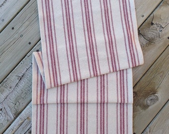 Grain Sack Table Runner  Red Stripes