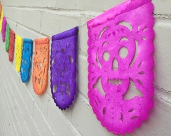 2 Mini Day of the Dead Papel Picado Mexican Skulls Banner Garland