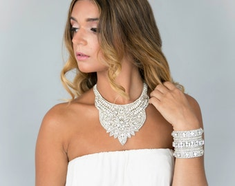 Bridal Statement Necklace- Bib Crystal Statement Necklace- Rhinestone and Pearls