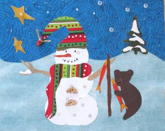 "Fishing Snowman Quilt Block 11"" With Embellishments"