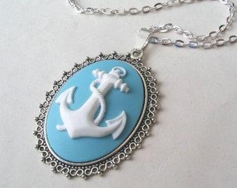 Blue Anchor Necklace, Nautical Necklace, Sailor Necklace, Cameo Necklace, Blue Necklace, Choose Bronze or Silver