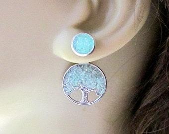 Front Back Earrings Reverse Earrings Aquamarine Tree Stud Earrings Birthstone Ear Jacket Tree of Life 2 in 1 Earrings Stained Glass Jewelry