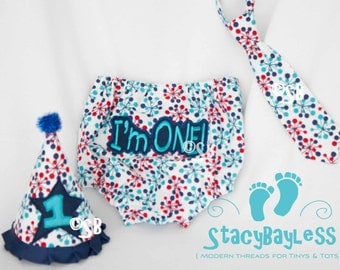 Red White and Blue Cake Smash Outfit for First Birthday - Party Hat - Diaper Cover - Necktie or Bow Tie