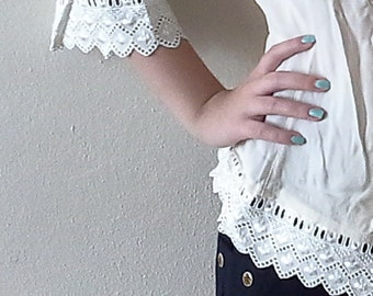 3/4 Sleeves Beige Cream Blouse, Cream lace embroidered blouse, 90s lace trim shirt