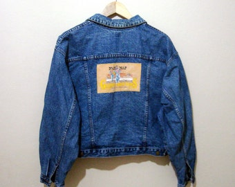 Vintage NAF NAF Denim Jacket, Globe Trotters applique  jean jacket, denim jacket vintage 80s