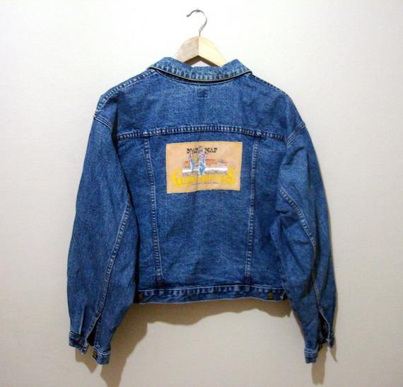 vintage naf naf denim jacket globe trotters applique jean. Black Bedroom Furniture Sets. Home Design Ideas