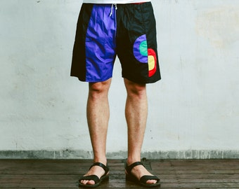 Vintage 80s Men's SWIM TRUNKS . 90s Board Shorts Summer Colourful Retro Oldschool 1990s Swimwear Summer Wear . size Medium Large XL