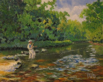 Oil painting, fly fishing art, 8x10