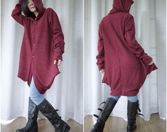 Front Opening Oversize Funky Boho Chic Modern Longsleeve Hoodie Burgundy Cocoon Women Men Jacket Coat