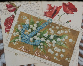 3 Antique Postcards - Early 1900s Era Flowers Poppies, Forget-me-not Anchor, Roses