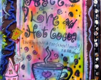 Peace Love and Hot Cocoa Mini Art Quilt, OOAK, Fiber Art, Peace Quilt Wall Hanging