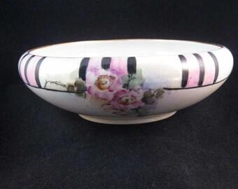 "Lusterware Hand Painted Bowl Pink & Black 8"" Bavarian Art Deco"