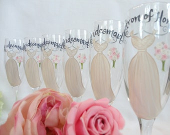 """Set of 7 - Hand Painted Bridesmaid Champagne Glasses - """"Personalize w/NAMES & DATES"""" - Bridal Champagne Glasses"""