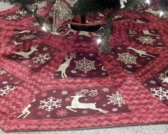 Large Octagon Red Reindeer/Stripe Christmas Tree Skirt IN STOCK