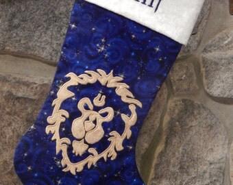 Large Size World of Warcraft Alliance WOW Appliqued Christmas Stocking - Custom Order