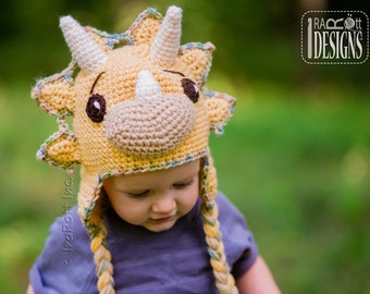 CROCHET PATTERN Cera Tops The Triceratops Dino Hat PDF Crochet Pattern with Instant Download