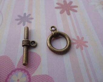 20 pairs antique bronze toggle clasps--antique bronze crown OT clasps