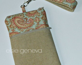 Natural Japanese Linen and Blue and Pink Paisley Phone Case with Wristlet and Optional Shoulder Strap iPhone 4 5 6 Plus Note