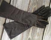 Vintage Gloves Women's Gloves Long Brown Gloves Silky Gloves 1950's European Historic Costume Gloves