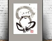 Zen Painting Basho's Frog singing with Moon, Enso, Zen  sumi ink painting, zen japanese illustration, childs room art, zen decor, tao