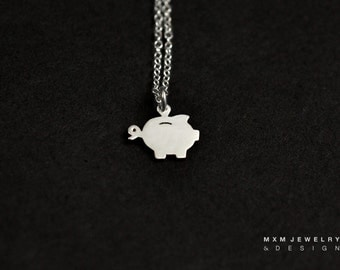 Silver or Gold Little Piggy Bank Necklace
