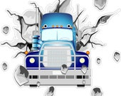 Tractor Trailer Decal Peel and Stick Repositionable Semi Truck Sticker Decoration