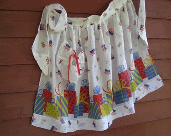 Birthday Party Apron Presents Hostess Serving Half Apron Vintage Gift Perfect Lightweight Sheer Fabric