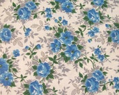 """Vintage Mid Century 36"""" W Cotton Percale Fabric - Blue Floral Small Print - By the Yard -"""