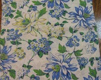 """Vintage Flour / Feed Sack Fabric - 36"""" W by 48"""" L- 1940s - Cotton/Linen Blend - Beautiful Floral in Yellow - Blue - Green -"""