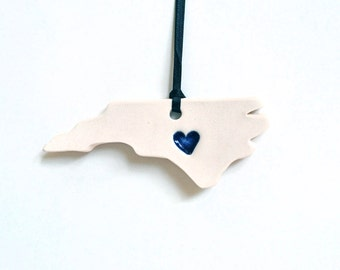 NC Heart Ornament, Ceramic, Pottery, Handmade - North Carolina - State shape - Christmas Ornament- Lauren Sumner Pottery