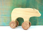 bear rolling toy, wooden push toys, waldorf wooden toys, animal on wheels